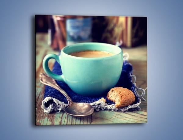 Obraz na płótnie – Kawa w błękitnej filiżance – jednoczęściowy kwadratowy JN434