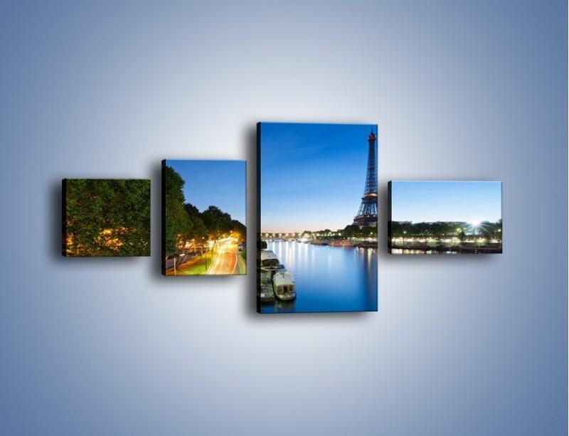 Obraz na płótnie – Zapadający zmrok w Paryżu – czteroczęściowy AM385W5