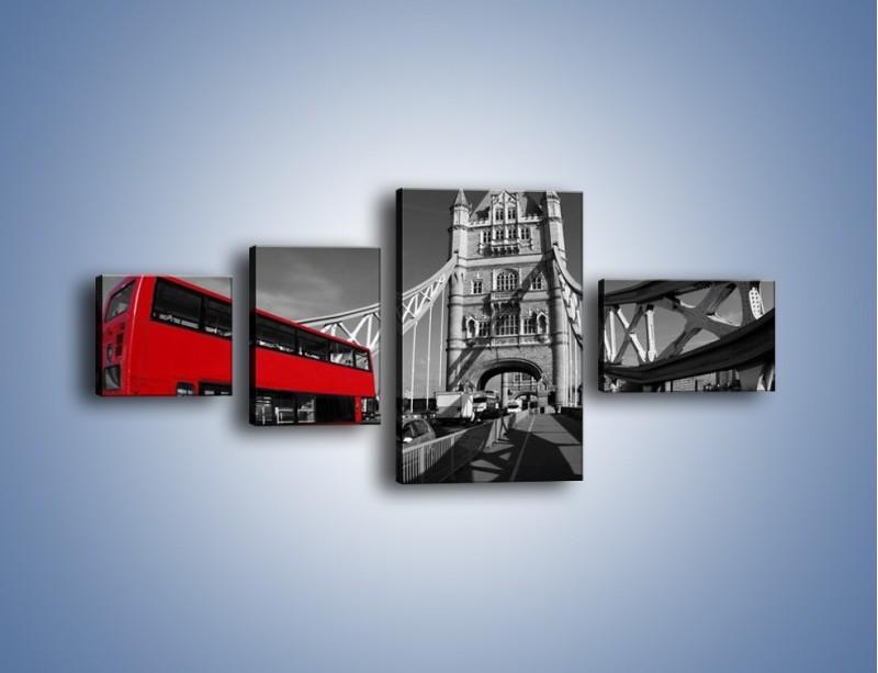 Obraz na płótnie – Tower Bridge i czerwony autobus – czteroczęściowy AM394W5