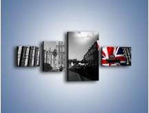 Obraz na płótnie – Big Ben i autobus z flagą UK – czteroczęściowy AM396W5