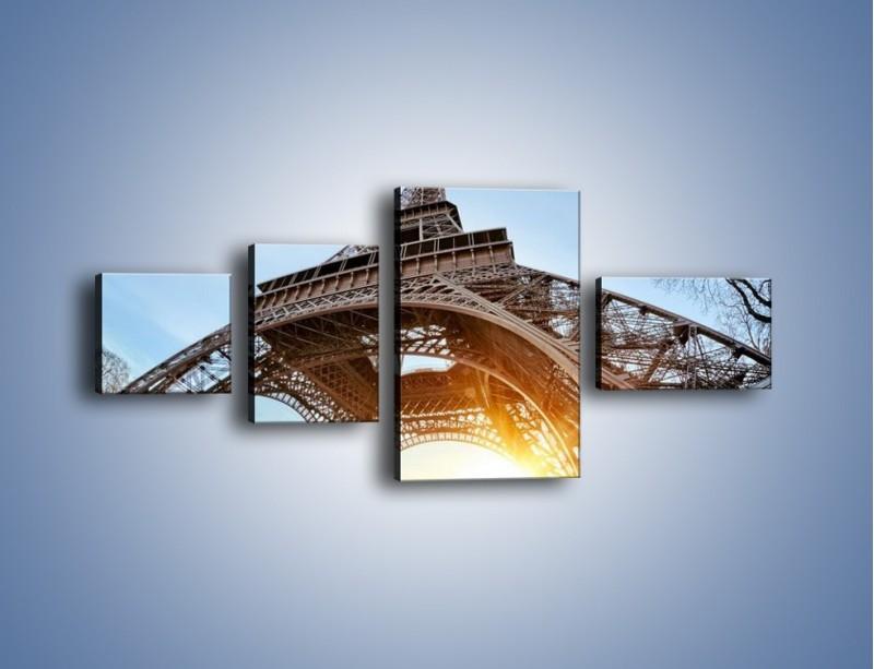 Obraz na płótnie – Wieża Eiffla w słońcu – czteroczęściowy AM403W5