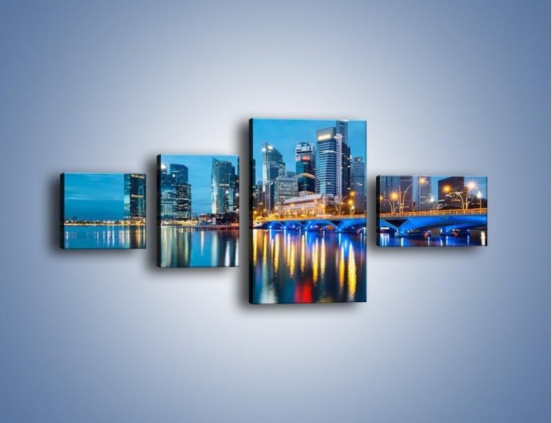 Obraz na płótnie – Kolorowe światła Singapuru – czteroczęściowy AM408W5