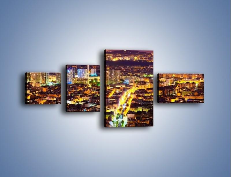 Obraz na płótnie – Kolory Paryża nocą – czteroczęściowy AM419W5