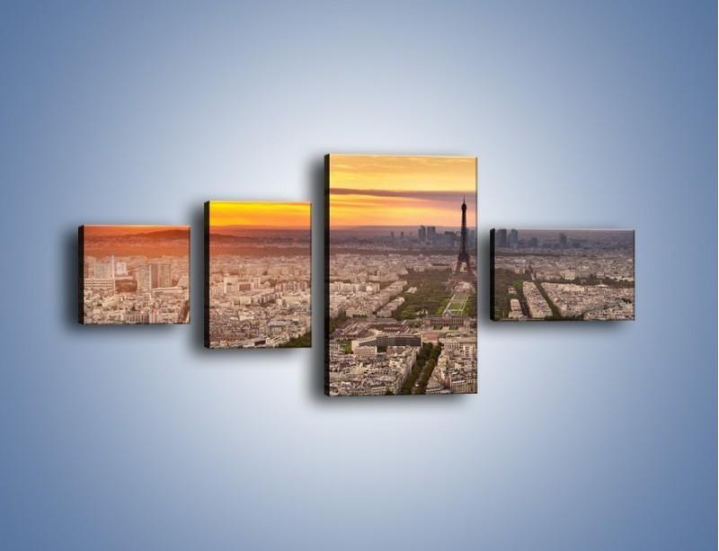 Obraz na płótnie – Zachód słońca nad Paryżem – czteroczęściowy AM420W5