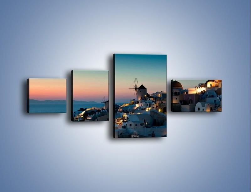 Obraz na płótnie – Domki na Santorini po zmierzchu – czteroczęściowy AM421W5