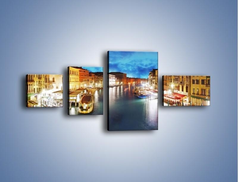 Obraz na płótnie – Światła Wenecji po zmroku – czteroczęściowy AM430W5