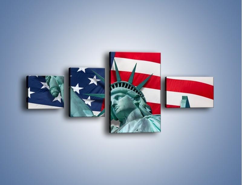 Obraz na płótnie – Statua Wolności na tle flagi USA – czteroczęściowy AM435W5