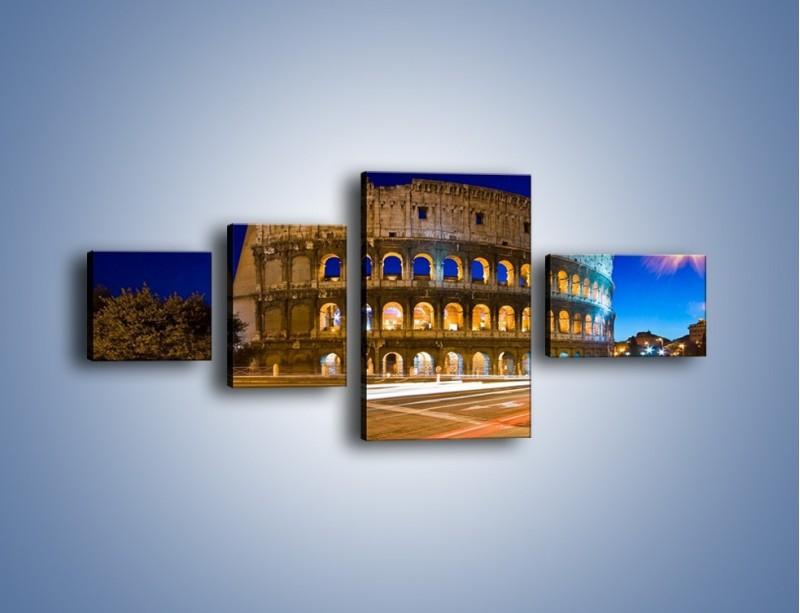 Obraz na płótnie – Koloseum po zmierzchu – czteroczęściowy AM443W5