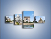 Obraz na płótnie – Atrakcje turystyczne Paryża – czteroczęściowy AM448W5