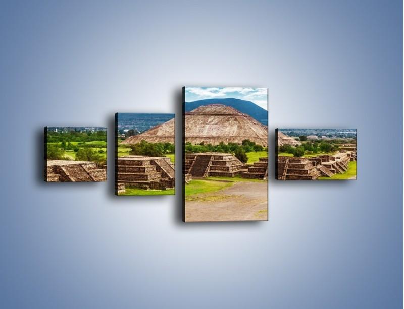 Obraz na płótnie – Piramida Słońca w Meksyku – czteroczęściowy AM450W5