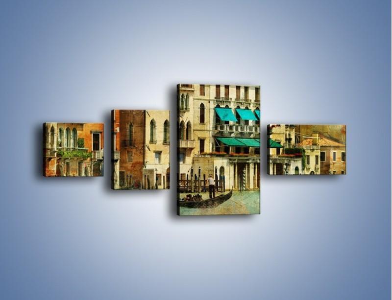 Obraz na płótnie – Weneckie domy w stylu vintage – czteroczęściowy AM459W5