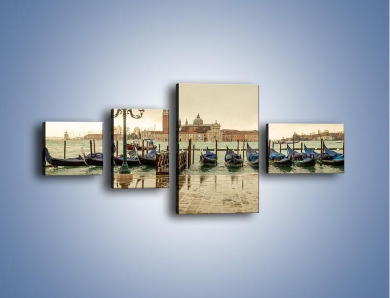 Obraz na płótnie – Zacumowane weneckie gondole – czteroczęściowy AM462W5
