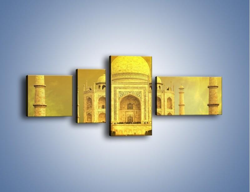 Obraz na płótnie – Tadź Mahal w żółtym kolorze – czteroczęściowy AM465W5