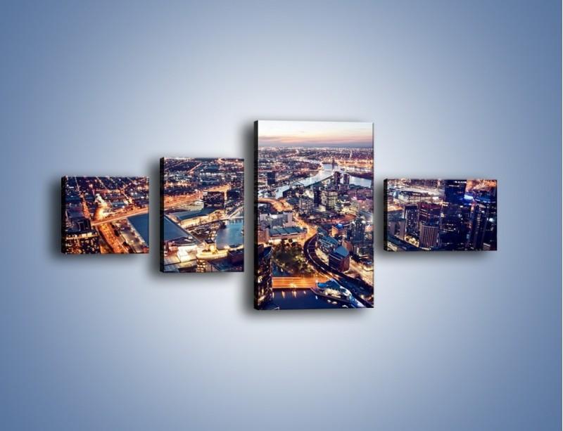 Obraz na płótnie – Panorama Melbourne po zmierzchu – czteroczęściowy AM470W5