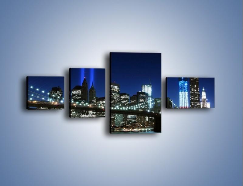 Obraz na płótnie – Most Brookliński nocą – czteroczęściowy AM476W5
