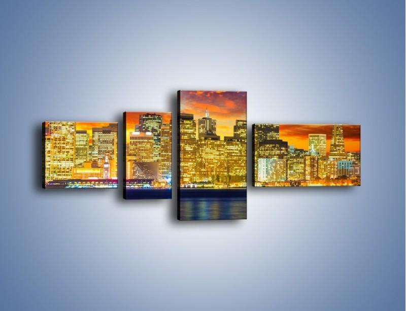Obraz na płótnie – Wieżowce San Francisco nad wodą – czteroczęściowy AM481W5