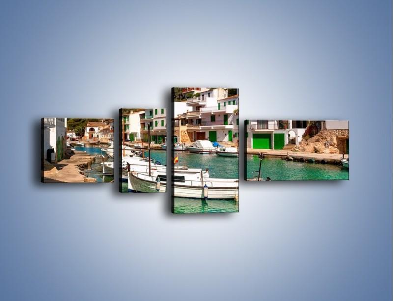 Obraz na płótnie – Domki nad wodą na Majorce – czteroczęściowy AM484W5