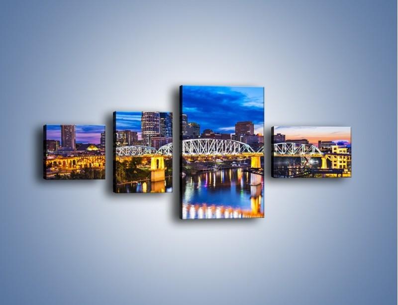 Obraz na płótnie – Most Shelby Street w Nashville – czteroczęściowy AM489W5