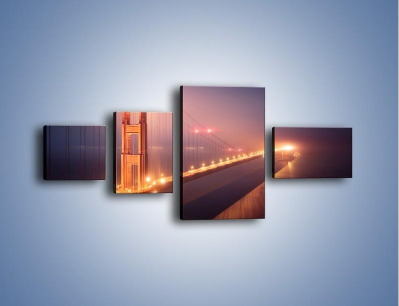 Obraz na płótnie – Most Golden Gate w nocnej mgle – czteroczęściowy AM490W5