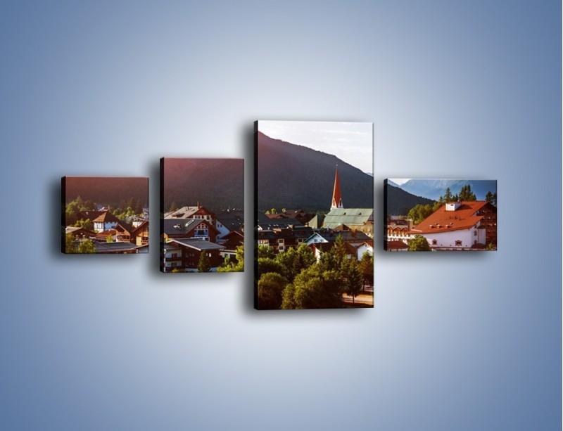 Obraz na płótnie – Austryjackie miasteczko u podnóży gór – czteroczęściowy AM496W5