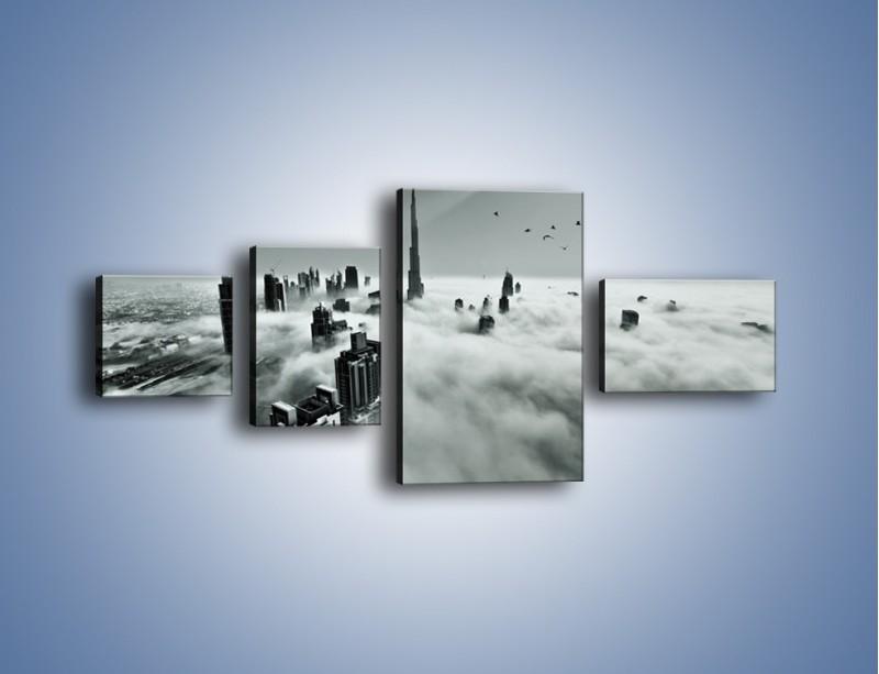 Obraz na płótnie – Centrum Dubaju we mgle – czteroczęściowy AM502W5