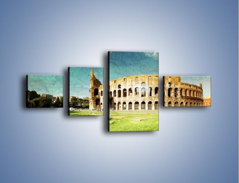 Obraz na płótnie – Koloseum w stylu vintage – czteroczęściowy AM503W5