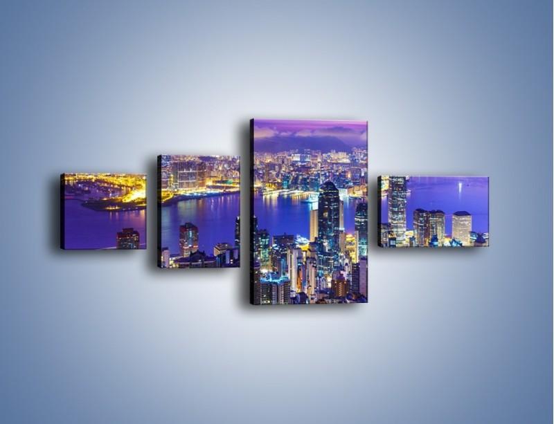 Obraz na płótnie – Wieczorna panorama Hong Kongu – czteroczęściowy AM505W5