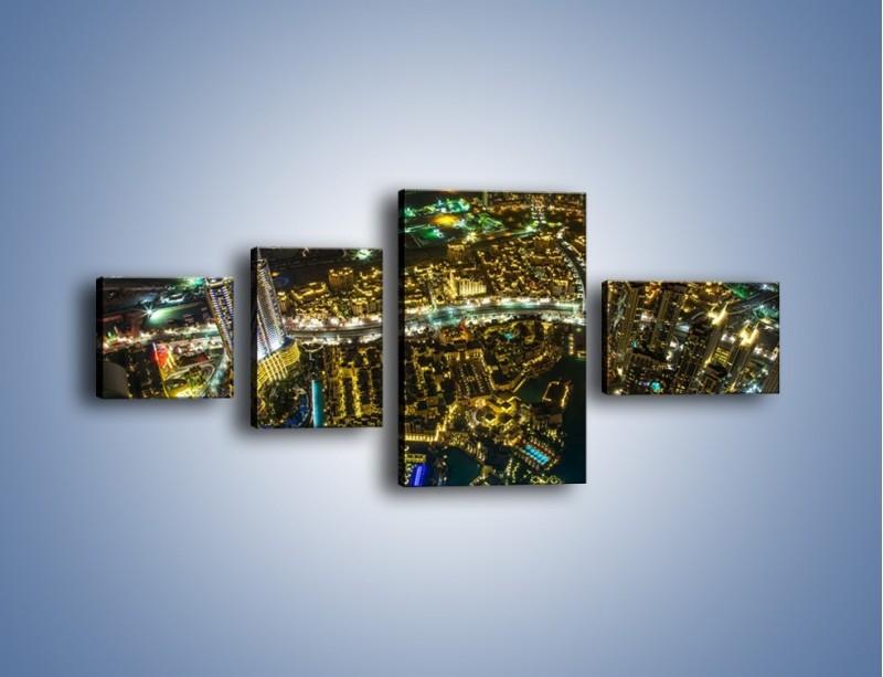 Obraz na płótnie – Dubaj nocą z lotu ptaka – czteroczęściowy AM507W5