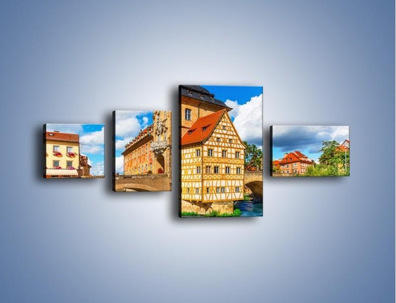 Obraz na płótnie – Ratusz w mieście Bamberg – czteroczęściowy AM513W5