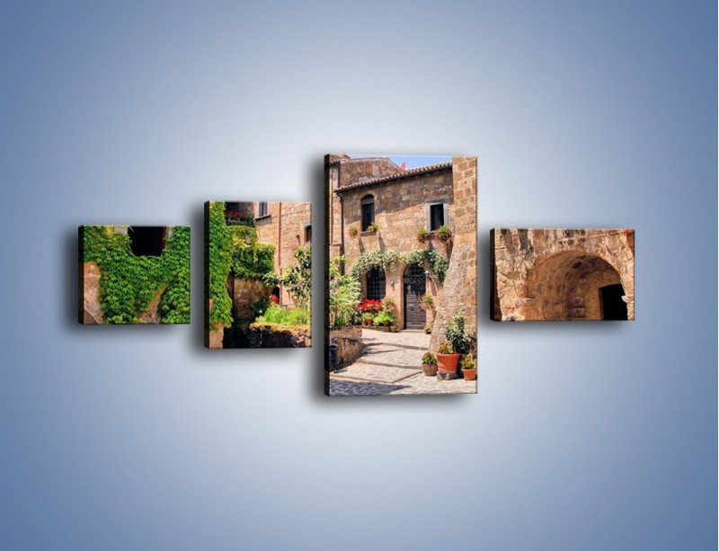 Obraz na płótnie – Romantyczna uliczka we Włoszech – czteroczęściowy AM533W5