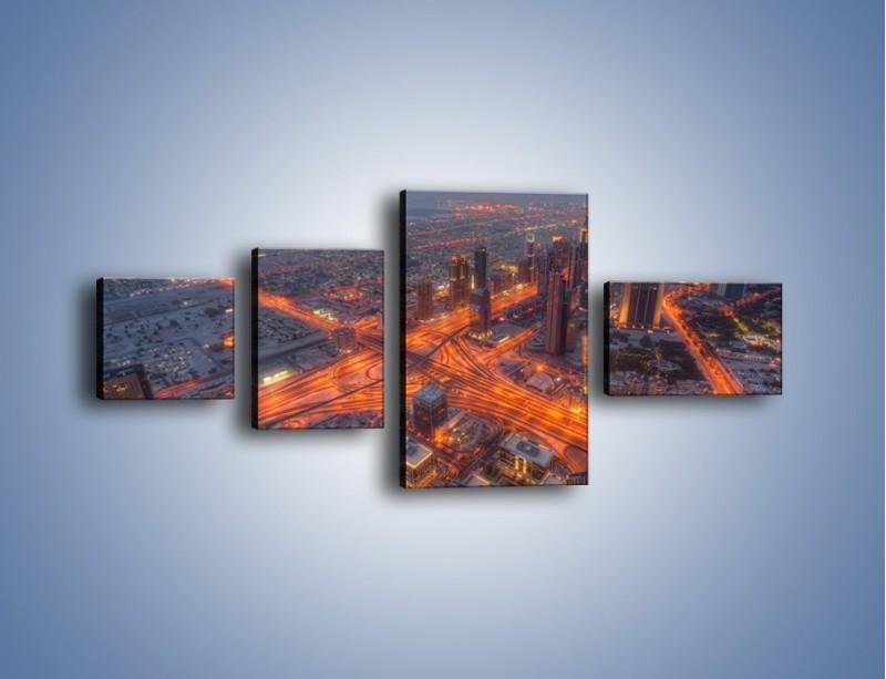 Obraz na płótnie – Panorama Dubaju o poranku – czteroczęściowy AM538W5