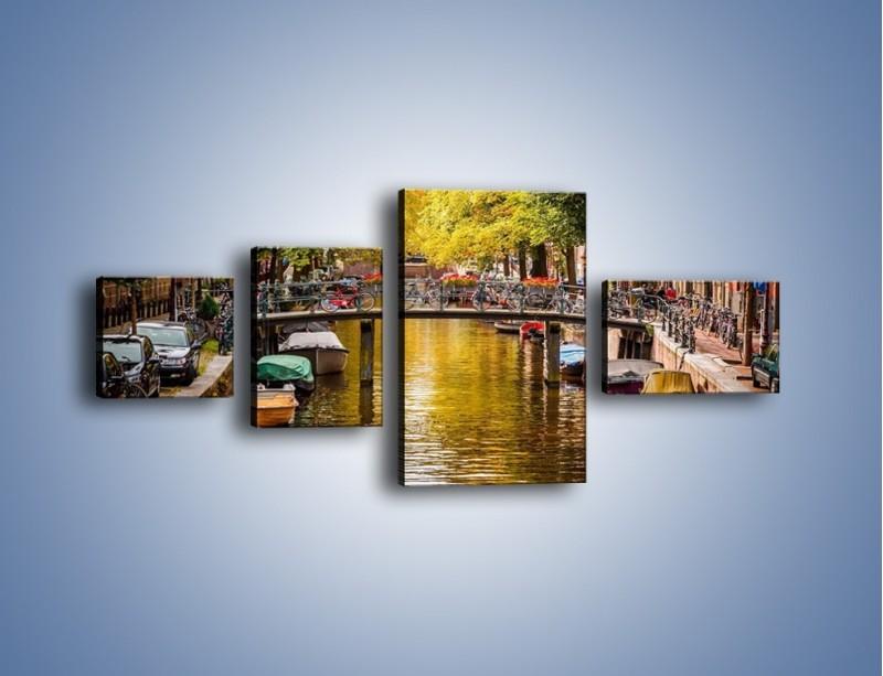 Obraz na płótnie – Most nad amsterdamskim kanałem – czteroczęściowy AM552W5