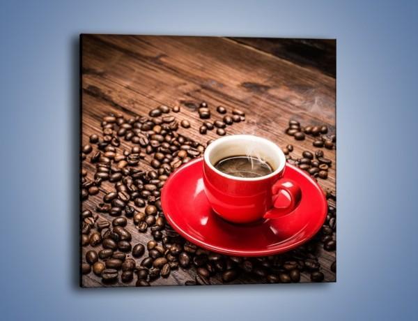 Obraz na płótnie – Kawa w czerwonej filiżance – jednoczęściowy kwadratowy JN441