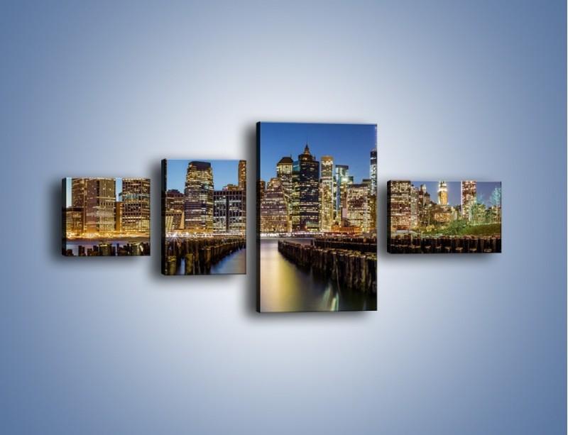 Obraz na płótnie – Zniszczone molo i widok na Manhattan – czteroczęściowy AM601W5