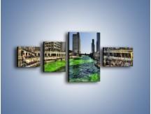 Obraz na płótnie – Chicago River w Dzień św. Patryka – czteroczęściowy AM605W5
