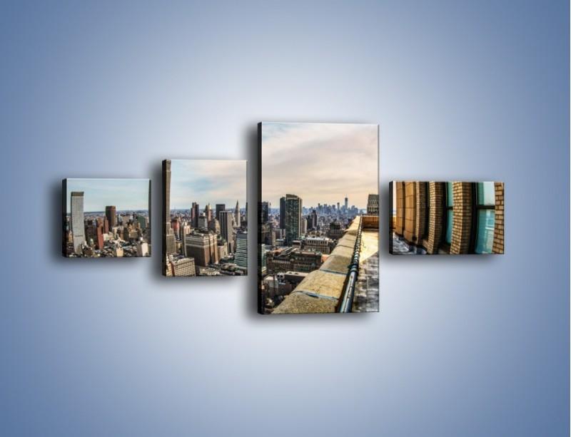 Obraz na płótnie – Empire State Building na Manhattanie – czteroczęściowy AM610W5