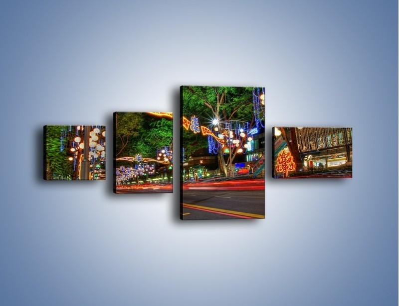 Obraz na płótnie – Noworoczne dekoracje w Singapurze – czteroczęściowy AM616W5
