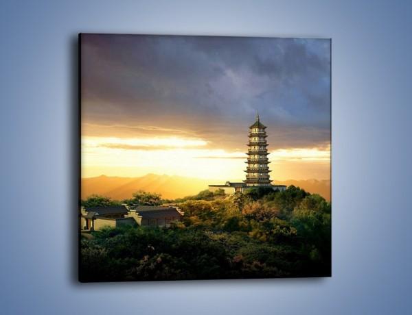 Obraz na płótnie – Azjatycka architektura o poranku – jednoczęściowy kwadratowy AM151
