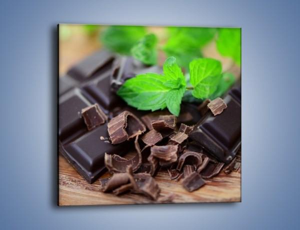 Obraz na płótnie – Połamana czekolada z miętą – jednoczęściowy kwadratowy JN442