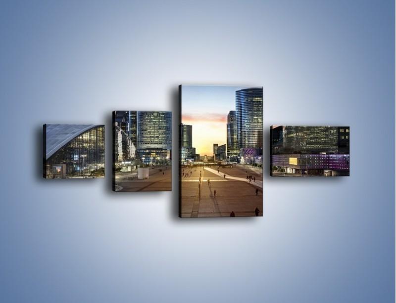 Obraz na płótnie – Quartier La Défense w Paryżu – czteroczęściowy AM647W5