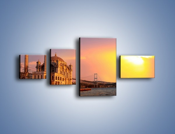 Obraz na płótnie – Meczet w blasku zachodzącego słońca – czteroczęściowy AM655W5