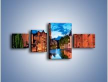 Obraz na płótnie – Budynki wzdłuż kanału w Brugii – czteroczęściowy AM667W5