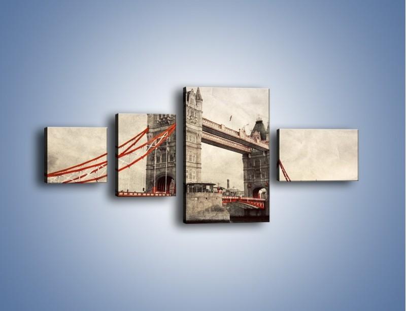 Obraz na płótnie – Tower Bridge w stylu vintage – czteroczęściowy AM668W5
