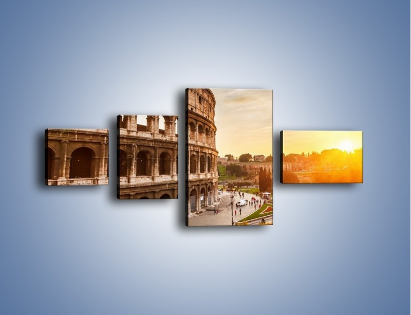 Obraz na płótnie – Rzymskie Koloseum o zachodzie słońca – czteroczęściowy AM684W5