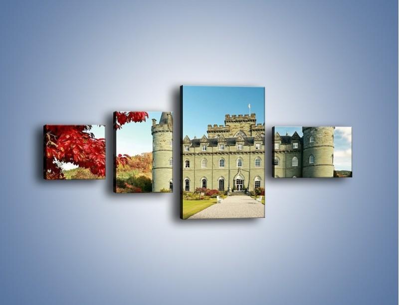 Obraz na płótnie – Zamek Inveraray w Szkocji – czteroczęściowy AM691W5