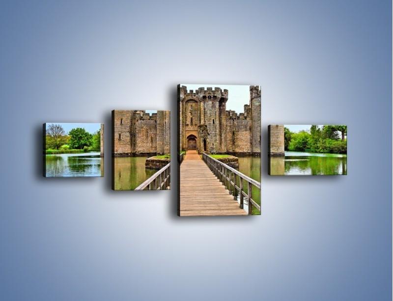 Obraz na płótnie – Zamek Bodiam w Wielkiej Brytanii – czteroczęściowy AM692W5