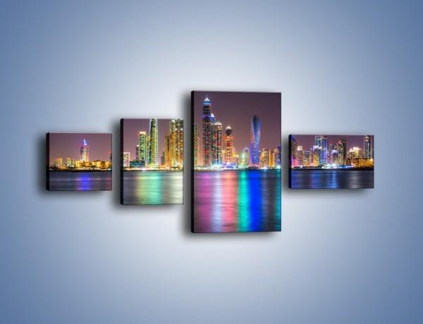 Obraz na płótnie – Kolorowe drapacze chmur w Dubaju – czteroczęściowy AM724W5