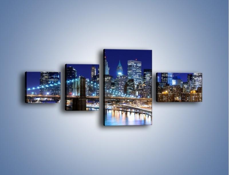Obraz na płótnie – Nocne światła Nowego Yorku – czteroczęściowy AM726W5