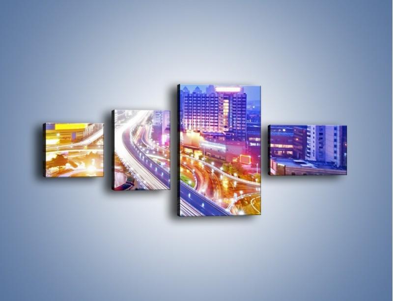 Obraz na płótnie – Rozświetlona miejska estakada – czteroczęściowy AM729W5