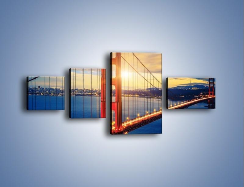 Obraz na płótnie – Zachód słońca nad Mostem Golden Gate – czteroczęściowy AM738W5